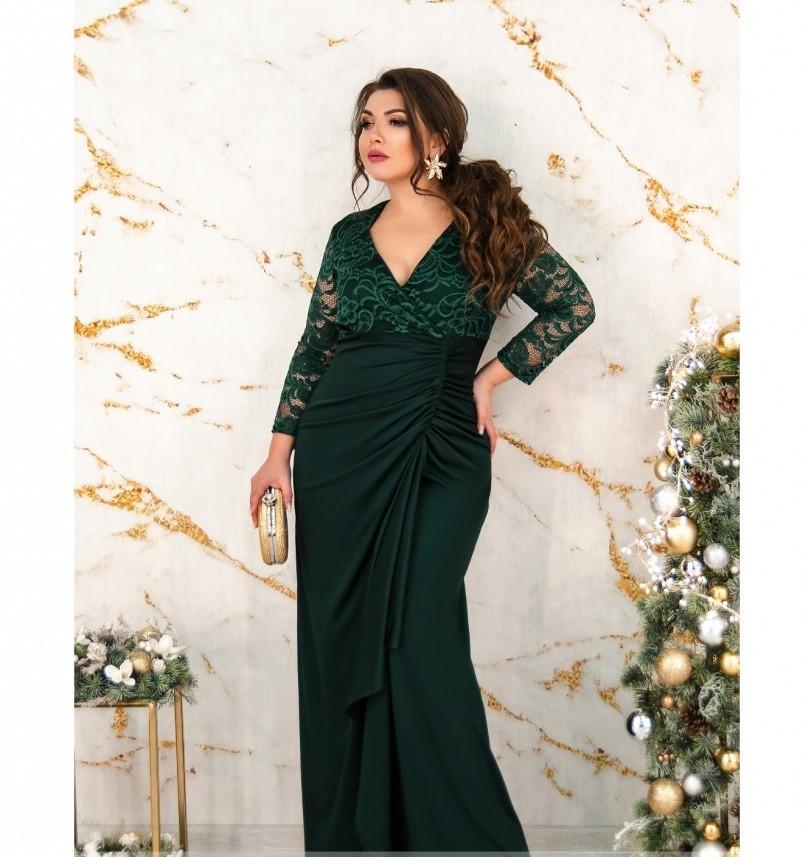 Оригинальное вечернее платье с шёлковым подолом №8-201-темно-зеленый