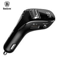 FM трансмиттер модулятор Baseus F40 Bluetooth 5.0 c функцией зарядки (Черный, 2xUSB, 1xAUX)