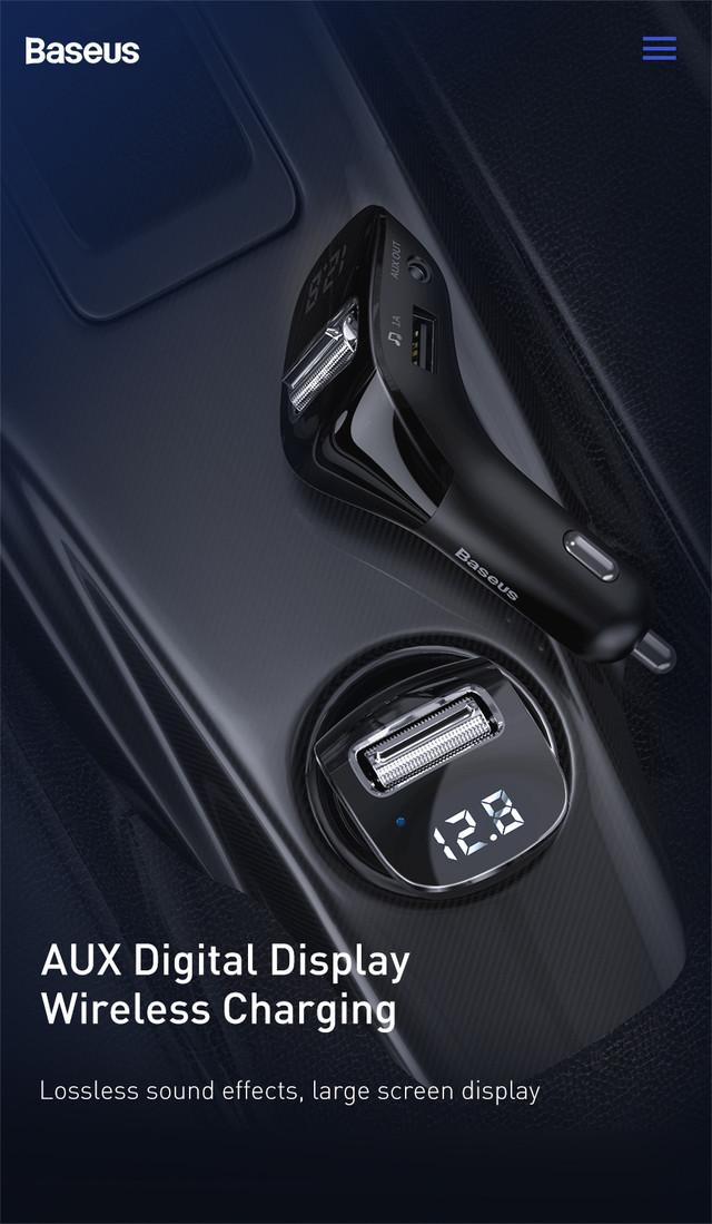 FM трансмиттер модулятор Baseus F40 Bluetooth 5.0 c функцией зарядки Черный, 2xUSB, 1xAUX