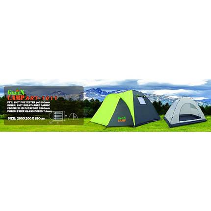Палатка 3-х местная GreenCamp 1011 на 1 вход, фото 2