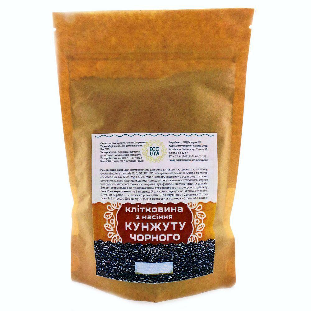 Клетчатка из семян черного кунжута Ecoliya, 200 грамм