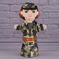 Лялька на руку для лялькового театру 31 см Військовослужбовець Кукла на руку для кукольного театра