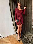 Женское платье на запах с поясом красное, чёрное, бордовое, фото 5