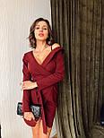 Женское платье на запах с поясом красное, чёрное, бордовое, фото 4