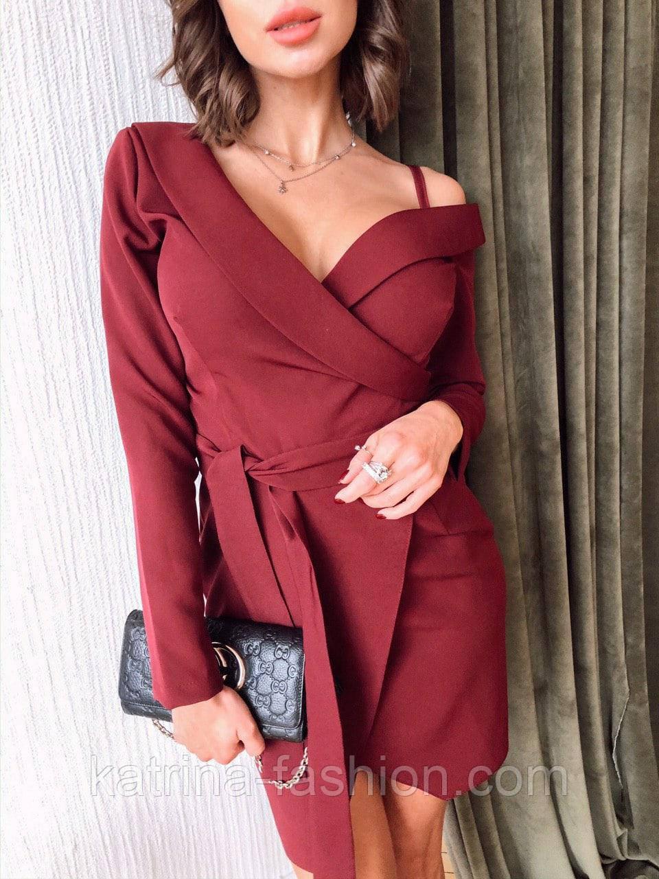 Женское платье на запах с поясом красное, чёрное, бордовое