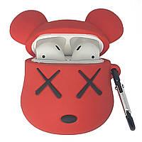 Чехол кейс для AirPods Bearbrick | силиконовый чехол мишка для AirPods с карабином красный