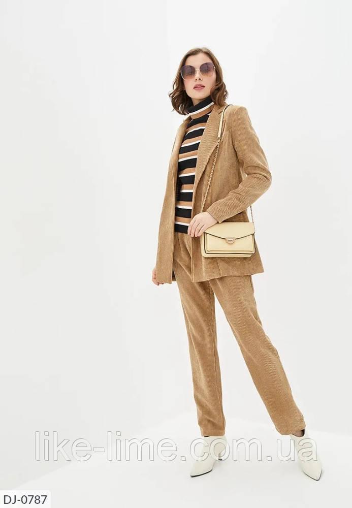 Женский стильный классический вельветовый костюм