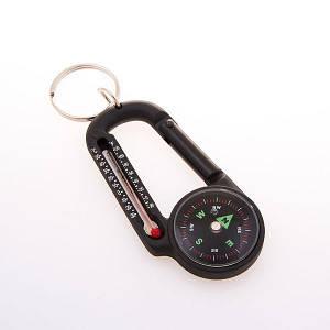 Компас магнитный с карабином D=27mm T27 + термометр походный туристический компас