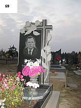 Одинарний пам'ятник для тата з високим хрестом та трояндами з граніту