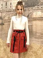 Юбка -карман ( кожа 20,красный), фото 1