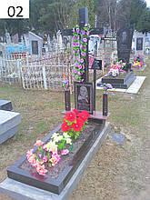 Одинарний пам'ятник хрест на могилу з граніту