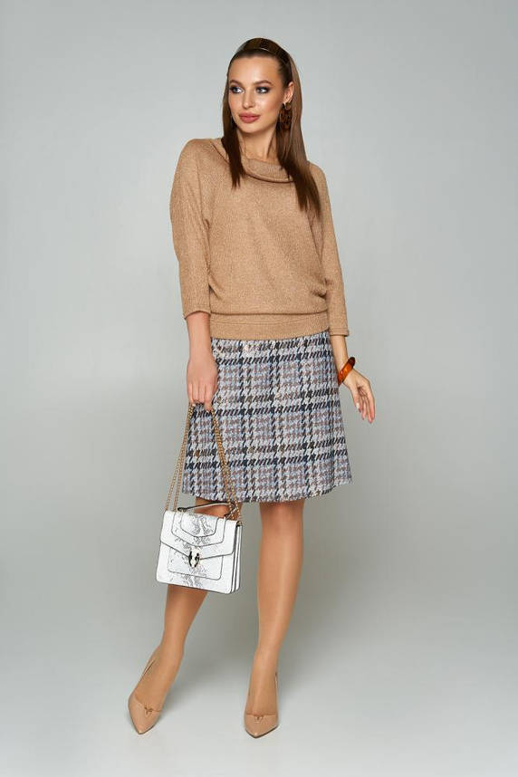 Модная женская кофточка с люрексом трикотажная бежевая, фото 2