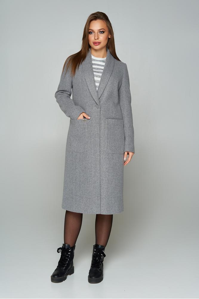 Женское кашемировое пальто демисезонное серое