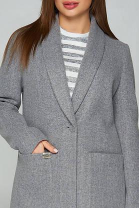 Женское кашемировое пальто демисезонное серое, фото 3
