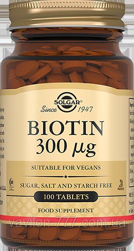 Биотин, 300 мкг  100 таблеток Solgar