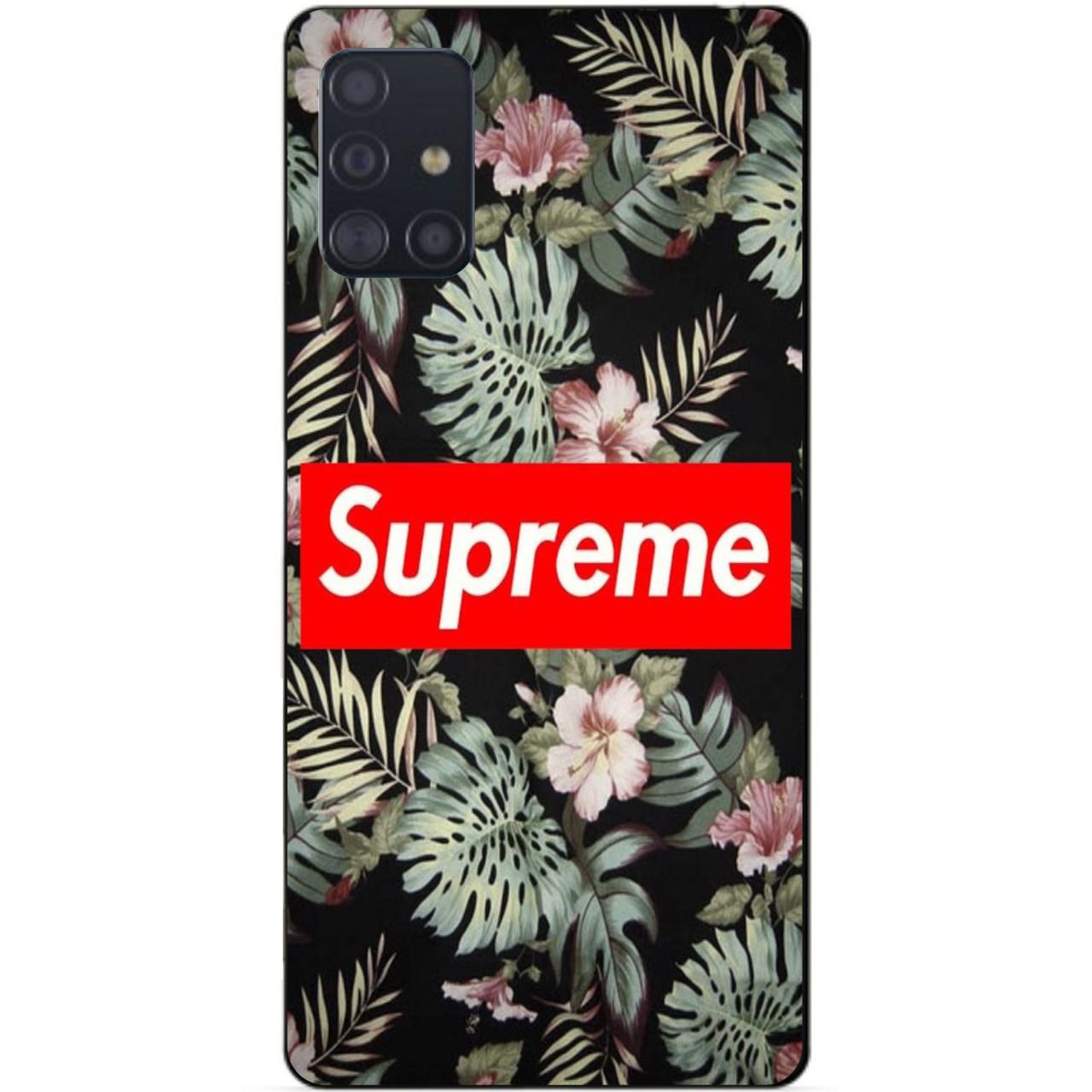 Силиконовый чехол бампер для Samsung A51 Galaxy A515 с рисунком Supreme на листьях