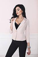 Короткий жіночий коттоновый піджак у діловому стилі на одному гудзику і рукавом 3/4 р. 42-52. Арт-4074/58, фото 1