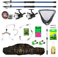"""Набір риболовний все в одному """"Два спінінги - карась"""" для донної ловлі, готовий до використання"""
