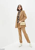 Жіночий стильний класичний вельветовий костюм, фото 1