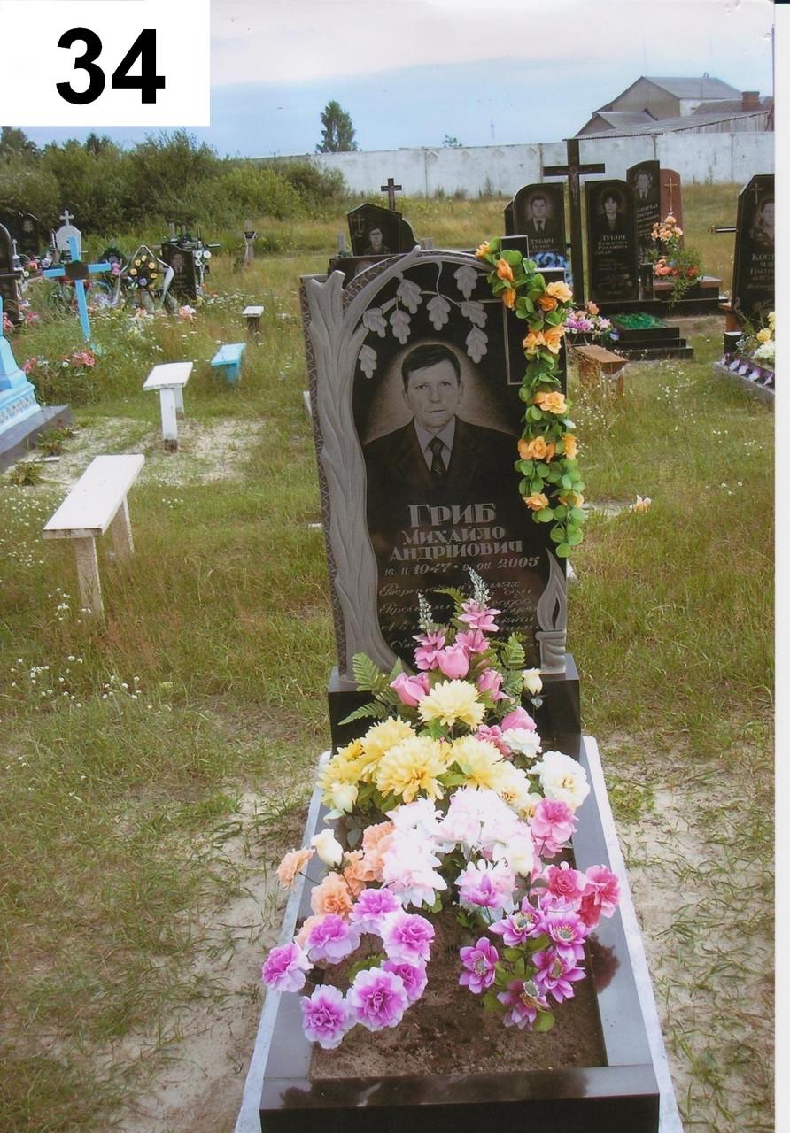 Одинарний пам'ятник на могилу хрест із граніту та дуб
