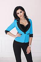 Красивый короткий двухцветный коттоновый женский стильный пиджак с рукавом 3/4 р.42-52.  Арт-6991/58, фото 1