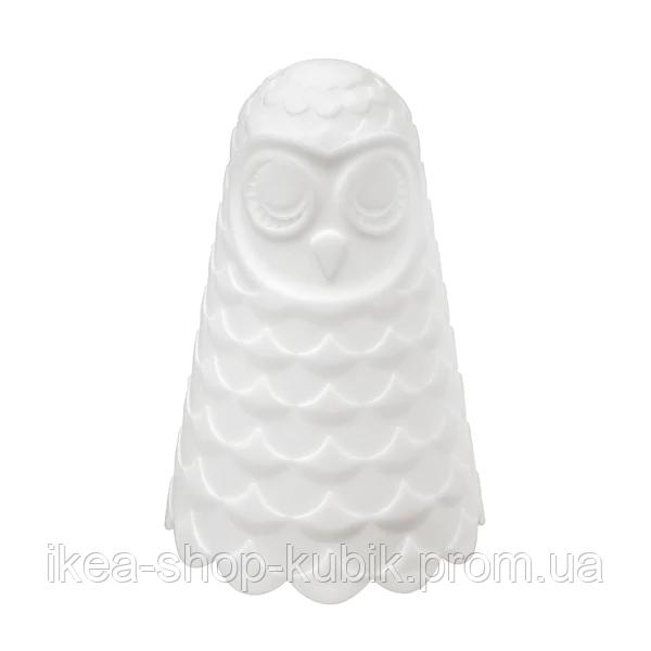 ІКЕА СОЛБУ Настільна лампа світлодіодна, біла сова, з батарейним живленням, 14 см