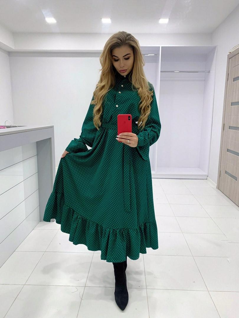 """Платье в горох на рукавах завязки, ткань: итальянская костюмка. Размер: 42-46. Цвет: зеленый. (1711 """"дольче"""")"""
