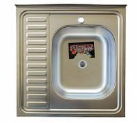 Накладна кухонна мийка Platinum 60*60 (см) у покритті satin (матова), з товщиною 0,5 (мм) Права, фото 1