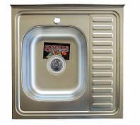 Накладная кухонная мойка Platinum 60*60 (cм) в покрытии decor (структурная), с толщиной 0,7 (мм) Левая, фото 1