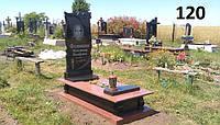 Одинарний пам'ятник з граніту з плиткою та полками