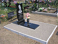 Одинарний пам'ятник на цвинтар з закритим квітником із граніту
