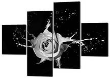 Картина модульная роза в ретро стиле серая брызги 160*114 см КодW265