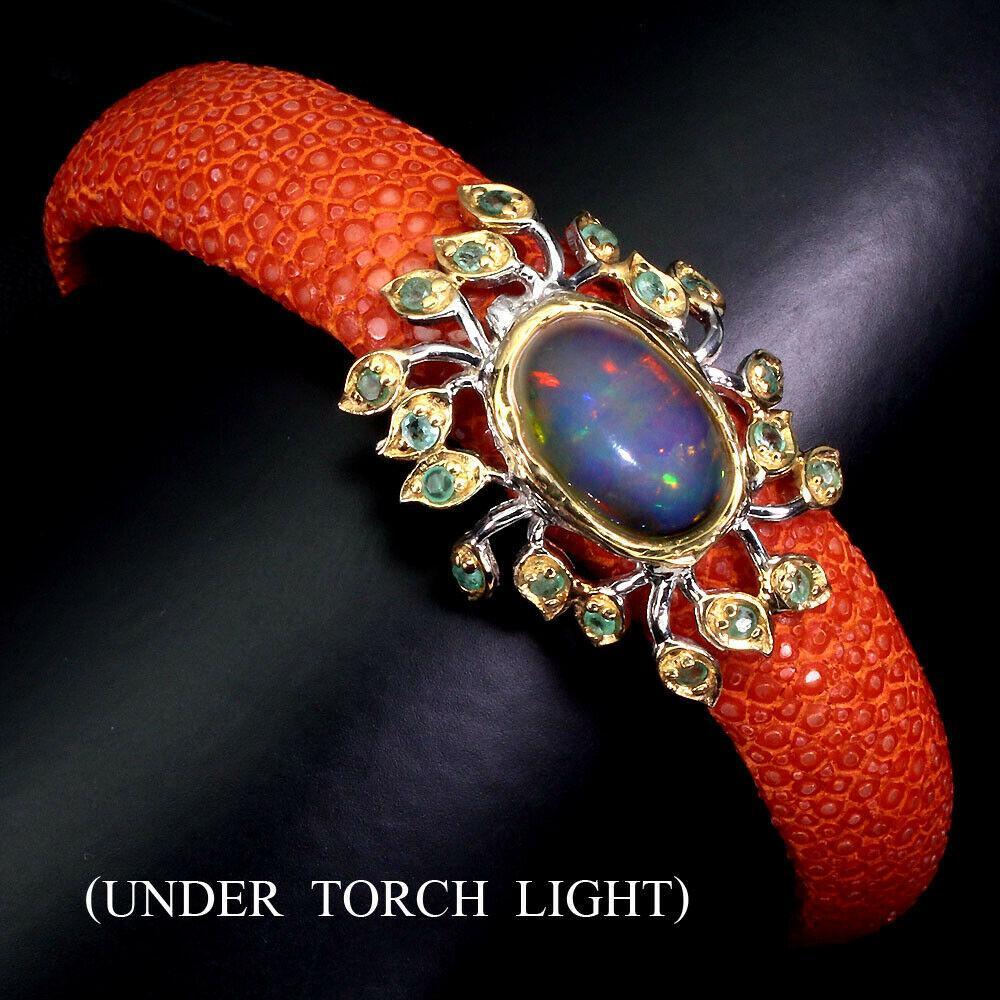 Кожаный браслет с серебром и камнями