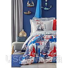 Комплект постельного белья Karaca Home ранфорс подростковый Hutson mavi