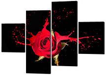 Модульна картина Троянда червона бризки в стилі Ню Код: W265a2