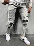 Мужские зауженные рваные джинсы (серые) - Турция, фото 3