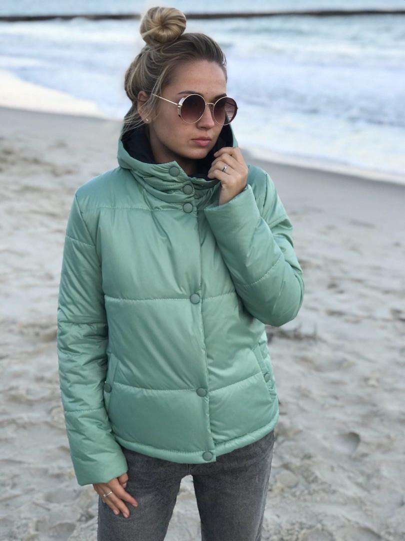Куртка женская зимняя на змейке с капюшоном, разм.42,44,46 (6расцв.)