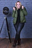 Женская утепленная силликоном кортоткая куртка с капюшоном 48-54р (5расцв), фото 1