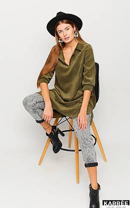 Молодёжное вельветовое платье рубашка цвета хаки, фото 3