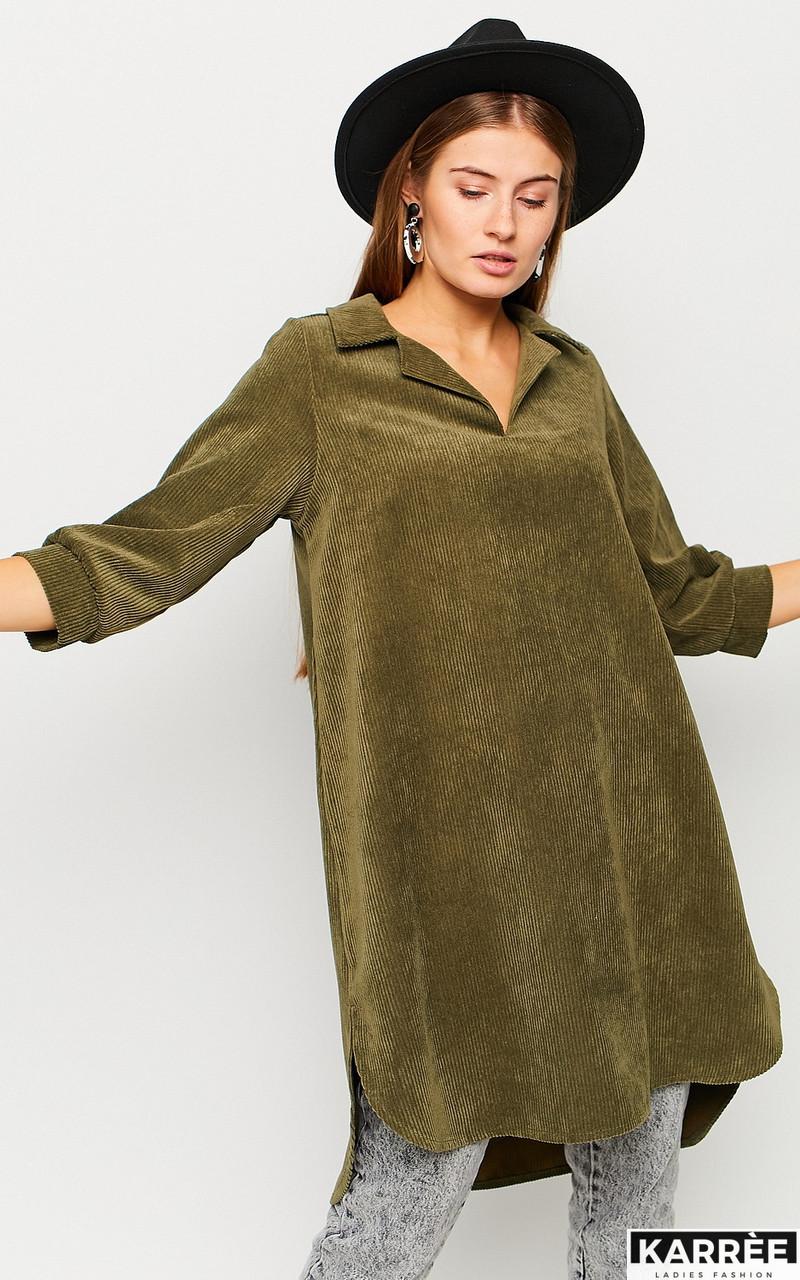 Молодёжное вельветовое платье рубашка цвета хаки