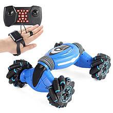 Трюковая Машинка - вездеход трансформер перевертыш Stunt Car с управлением жестами и пультом д/у 42см синий