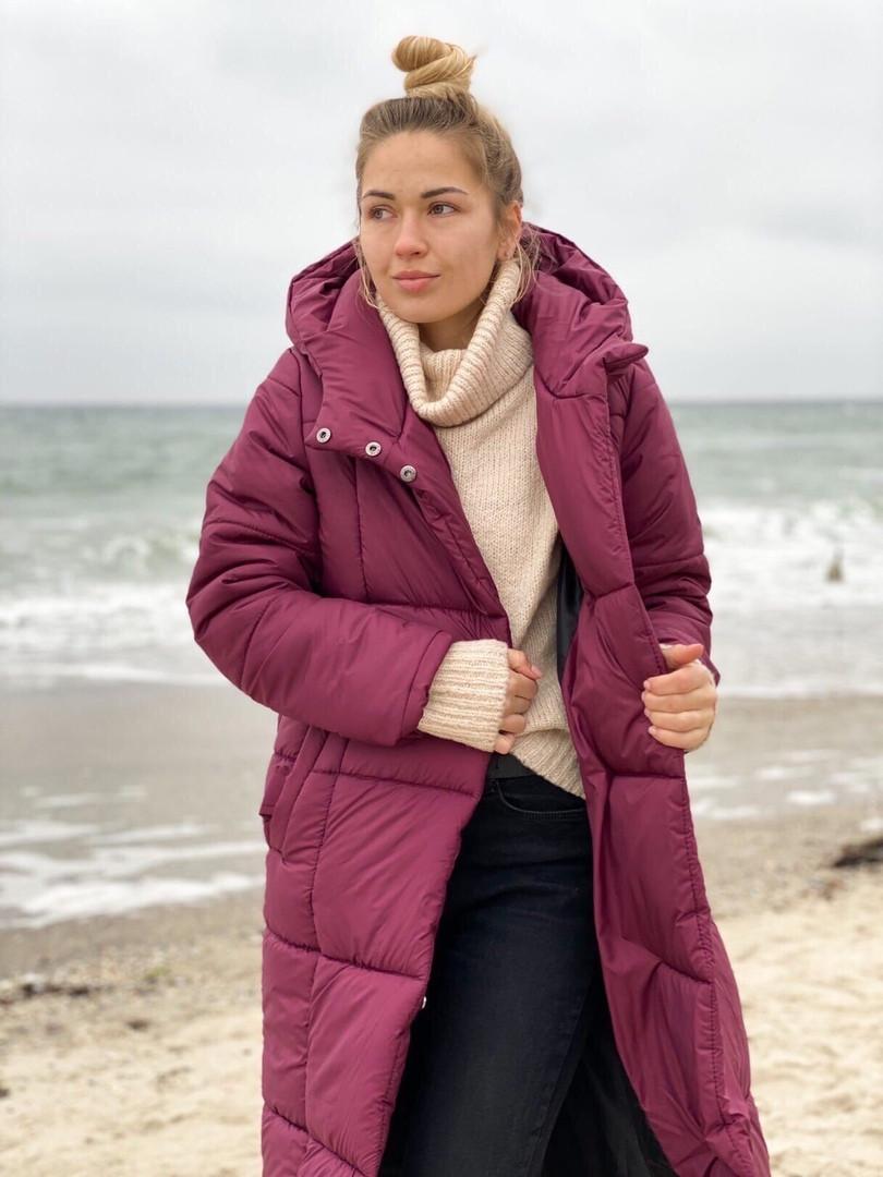 Длинное женское теплое пальто на силиконе 300, 42-44,46-48р. (6расцв.)