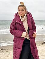 Длинное женское теплое пальто на силиконе 300, 42-44,46-48р. (6расцв.), фото 1
