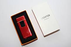 Спиральная зажигалка в подарочной упаковке с сенсорной кнопкой включения USB Lighter красная