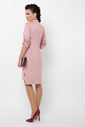 Модное замшевое платье рубашка повседневное цвета пудра, фото 3
