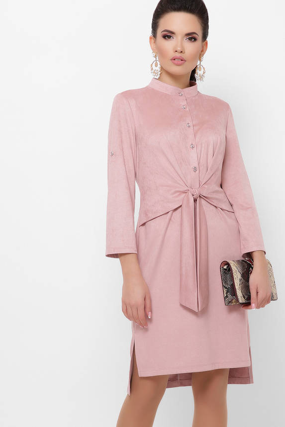 Модное замшевое платье рубашка повседневное цвета пудра, фото 2