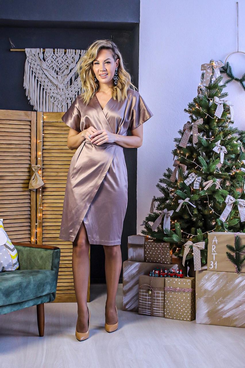 Стильное платье с запахом из качественного атласа, норма и батал большие размеры