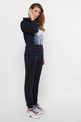 Модный трикотажный спортивный костюм с капюшоном синий, фото 2