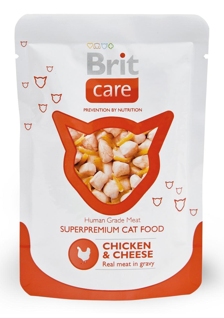 Вологий корм для кішок Brit Care з куркою і сиром 80 г