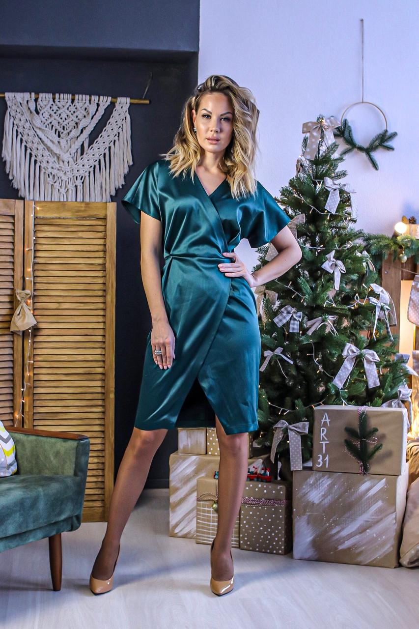 Стильне плаття з запахом з якісного атласу, норма і батал великі розміри